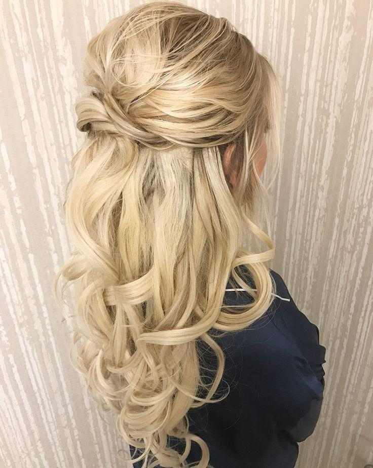 Pretty Half Up Half Down Wedding Hairstyle – Partial Updo Bridal Inside Wedding Semi Updo Bridal Hairstyles With Braid (View 9 of 25)