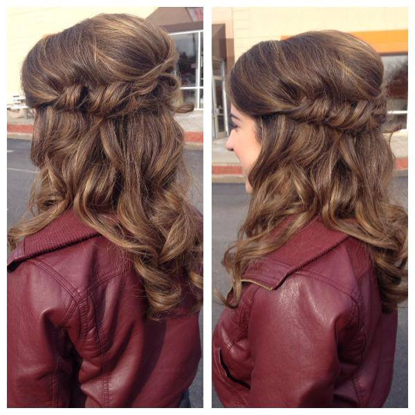 Pretty Half Updo With Rolls And Twists – Curled Hair – Prom, Wedding Inside Bumped Twist Half Updo Bridal Hairstyles (View 8 of 25)