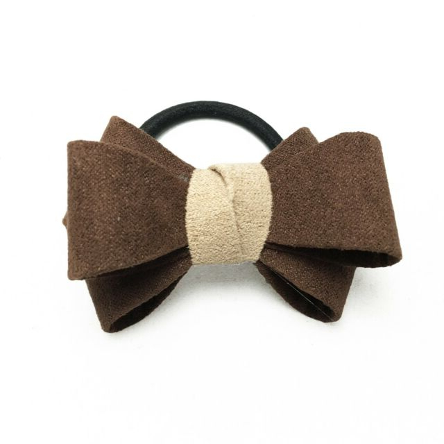Prom Bow Wedding Office Tie Girls Hair Ponytail Holder Brown One Throughout Ponytail Bridal Hairstyles With Headband And Bow (View 21 of 25)