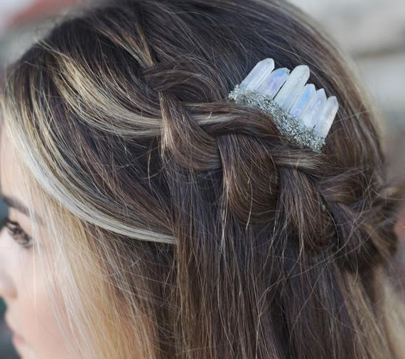 Pyrite Quartz Comb Mermaid Combmermaid Crowncrystal Hair | Etsy With Regard To Mermaid Inspired Hairstyles For Wedding (View 10 of 25)