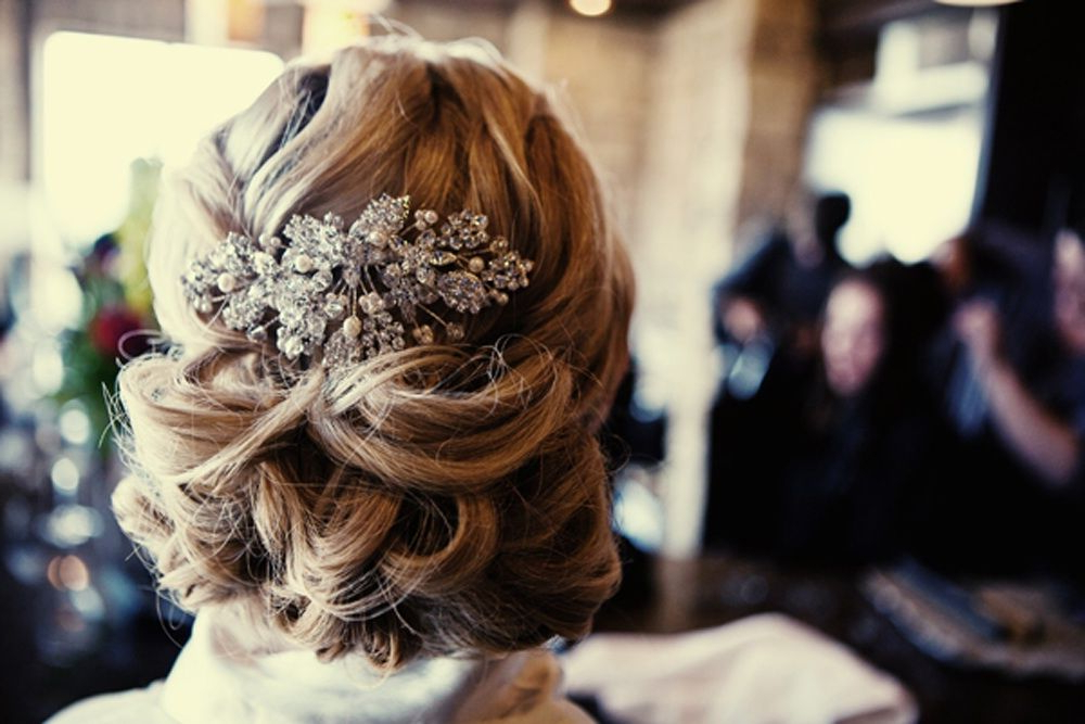 Real Wedding Chic Wedding Hairstyle All Up With Embellished Comb Throughout Swirled Wedding Updos With Embellishment (View 5 of 25)