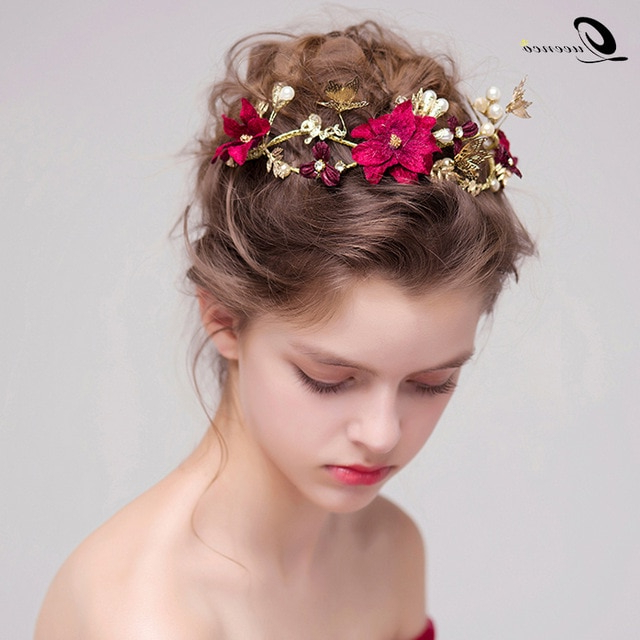 Red Flower Bridal Hairstyles Gold Leaves Butterfly Wedding Hair With Pearls Bridal Hairstyles (View 24 of 25)