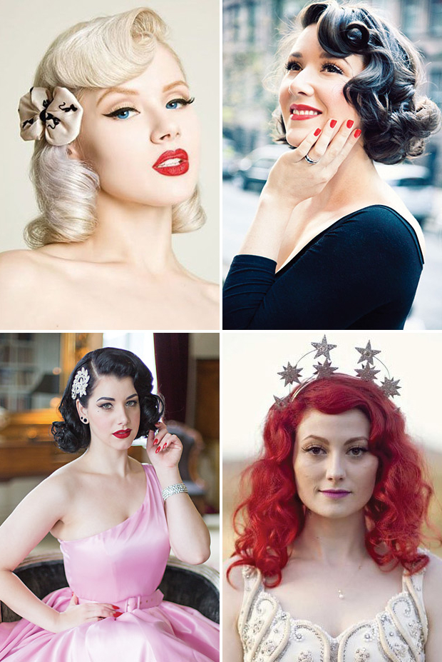 Retro Chic – 28 Vintage Wedding Hair Ideas | Onefabday Intended For Retro Glam Wedding Hairstyles (View 11 of 25)