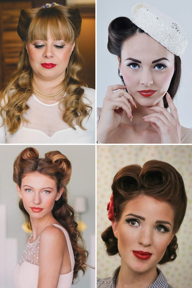 Retro Chic – 28 Vintage Wedding Hair Ideas | Onefabday Intended For Retro Glam Wedding Hairstyles (View 6 of 25)