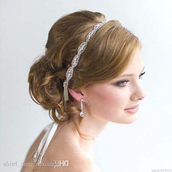 Rhinestone Bridal Headbands Crystal Ribbon Tie Back Prom Party Throughout Soft Wedding Updos With Headband (View 17 of 25)