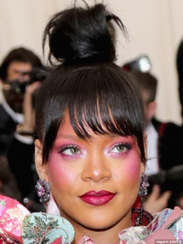 Rihanna's Top Knot Look Could Make You Bald Warns Expert | Daily Intended For Sleek Low Bun Rosy Outlook Wedding Updos (View 25 of 25)