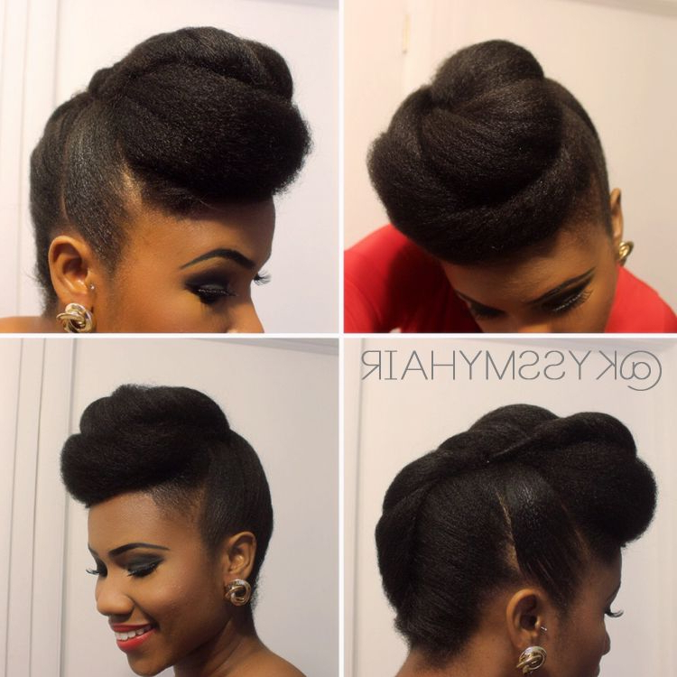 Roll & Tuck | Twisted Pompadour Updo On Natural Hair | Kyss My Hair With Regard To Pompadour Bun Hairstyles For Wedding (View 2 of 25)
