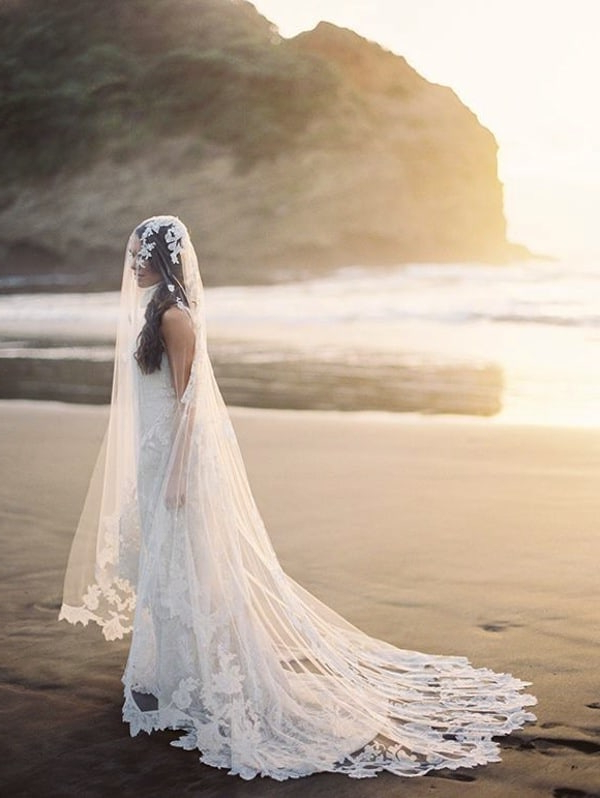 Rules For Your Beach Wedding Gown – New Jersey Bride Intended For Wedding Hairstyles With Extra Long Veil With A Train (View 19 of 25)