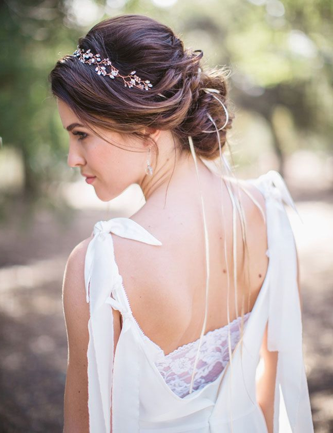 Secret Forest Elopement Inspiration | Wedding Dress Ideas + In Neat Bridal Hairdos With Headband (View 16 of 25)