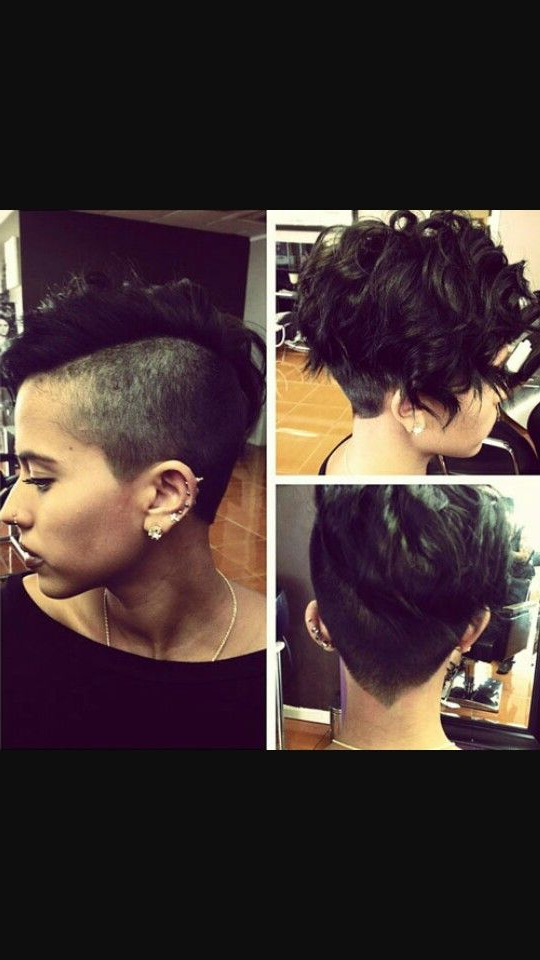 Shaved Sides, Pixie, Curly Faux Hawk   Cool Herrs   Hair Styles In Short Hair Wedding Fauxhawk Hairstyles With Shaved Sides (View 14 of 25)