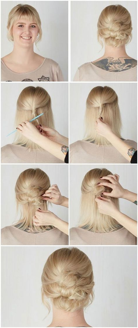 Short Hair Updos, How To Style Bobs, Lobs Tutorials | Kosa | Short Within Fancy Chignon Wedding Hairstyles For Lob Length Hair (View 20 of 25)
