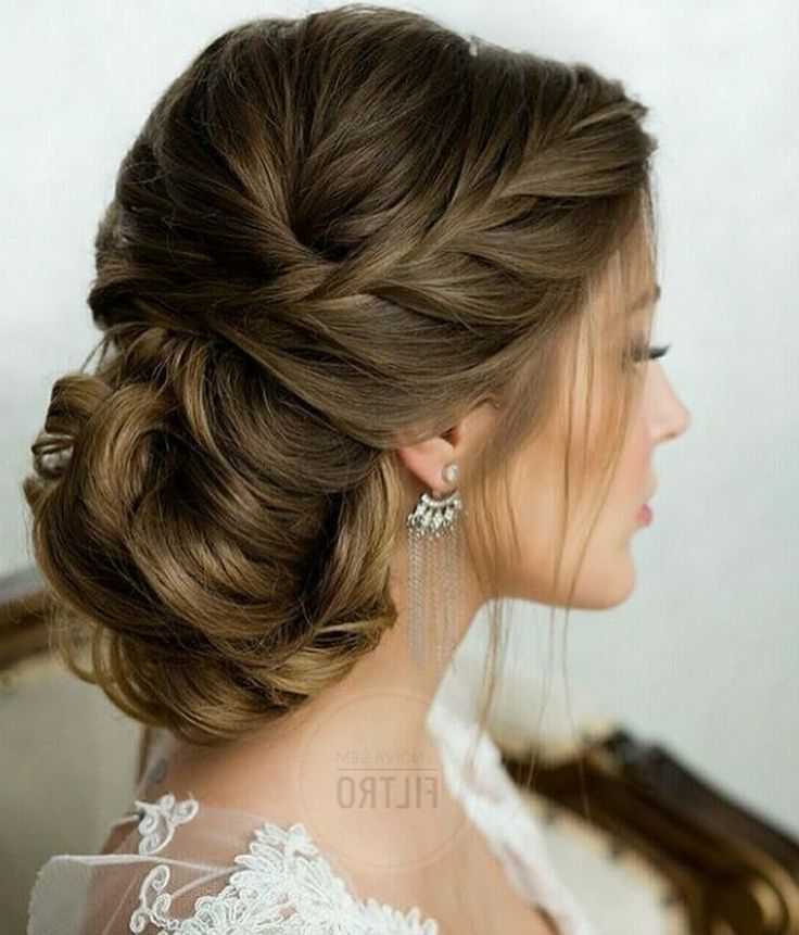 Side French Braid Low Wavy Bun Wedding Hairstyle | Wedding / Bridal Within Wavy Low Bun Bridal Hairstyles With Hair Accessory (View 2 of 25)