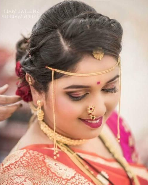 Side Parting And Poof Marathi Bridal Hairstyle | Indian Bridal Intended For Sides Parted Wedding Hairstyles (View 10 of 25)