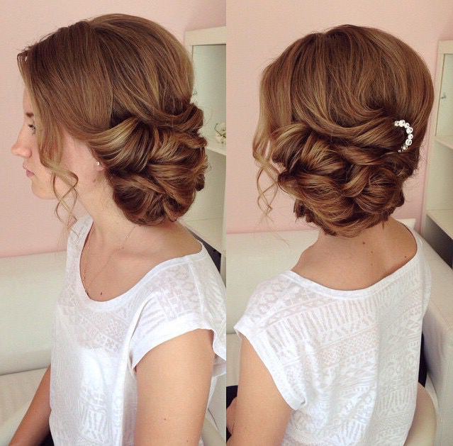 Side Swept Updo, Draped Updo, Wedding Hairstyles, Bridal Hair Ideas In Curled Side Updo Hairstyles With Hair Jewelry (View 6 of 25)