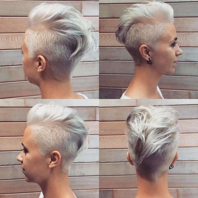 Silver Gray Faux Hawk   Hair In 2019   Pinterest   Hair, Hair Styles With Short Hair Wedding Fauxhawk Hairstyles With Shaved Sides (View 4 of 25)