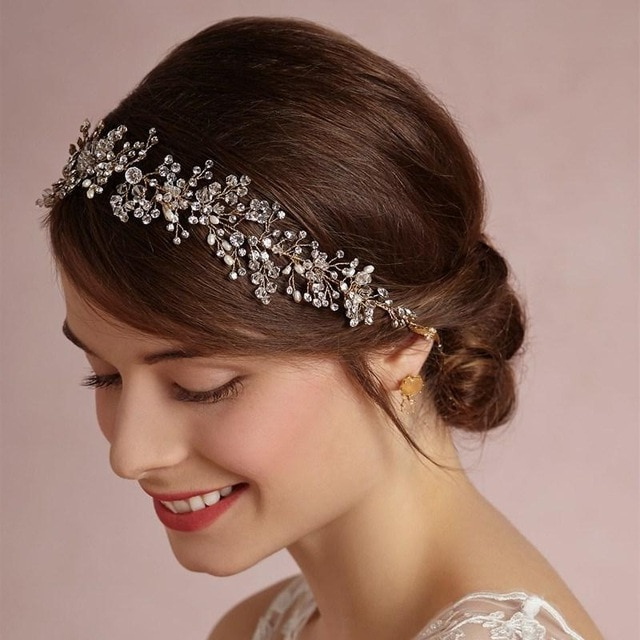 Silver Rhinestone Pearl Wedding Headband Beauty Forever Hair Throughout High Updos With Jeweled Headband For Brides (View 16 of 25)