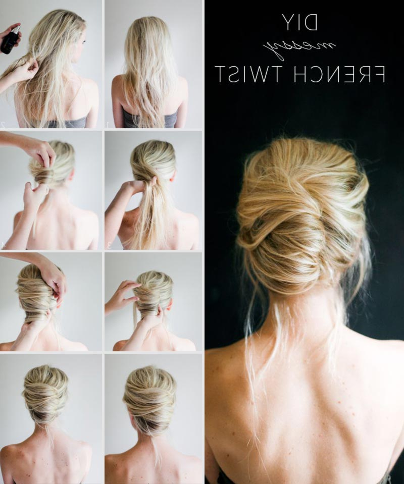 Simple Diy Spring Summer Hairstyle Messy French Twist – Stylefrizz Within Messy French Roll Bridal Hairstyles (View 4 of 25)