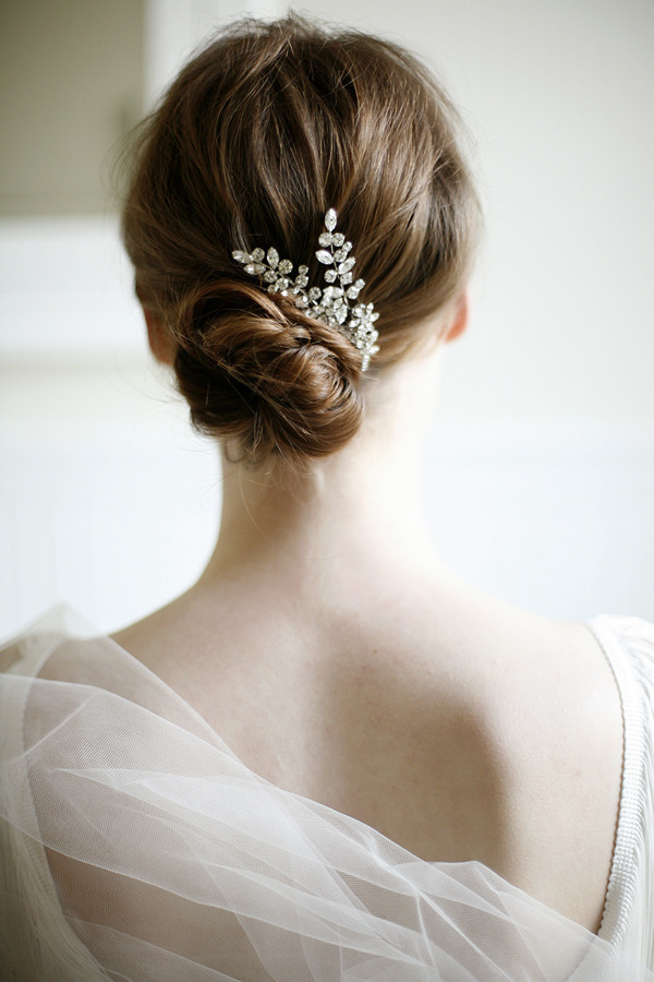 Simple Low Wedding Hairstyle Updo With Hair Comb | Deer Pearl Flowers Within Sleek And Simple Wedding Hairstyles (View 16 of 25)