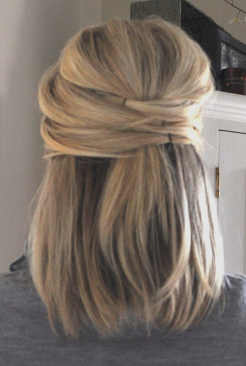 Simple Short Hair Half Up Half Down Hairstyles For Weddings Style Inside Simple Halfdo Wedding Hairstyles For Short Hair (View 17 of 25)