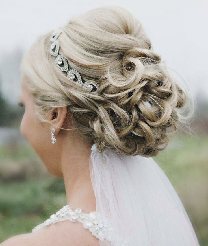Small Pompadour And Bun And Jeweled Headband | Wedding Hair With Regard To High Updos With Jeweled Headband For Brides (View 2 of 25)