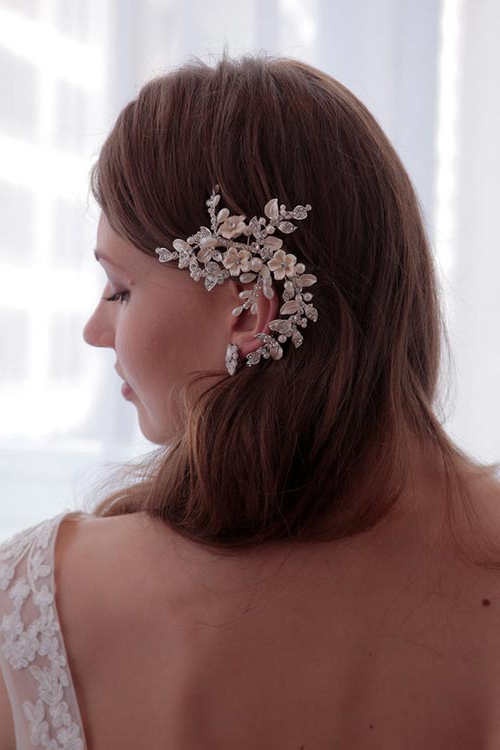 Spring 2017 Bridal Hairstyles And Makeup Looks | Fashionisers© With Sleek Bridal Hairstyles With Floral Barrette (View 20 of 25)