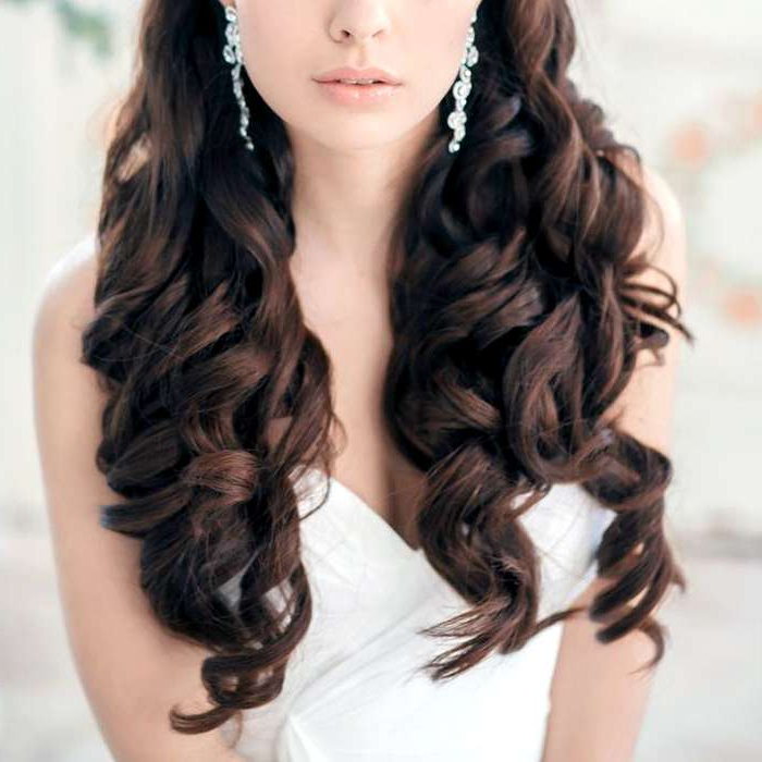 Stunning Half Up Half Down Wedding Hairstyles Inside Fabulous Cascade Of Loose Curls Bridal Hairstyles (View 22 of 25)