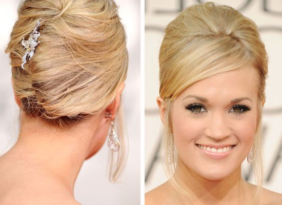 Stylenoted | Holiday Hairstyles: Carrie Underwood's French Twist Within Sleek French Knot Hairstyles With Curls (View 19 of 25)