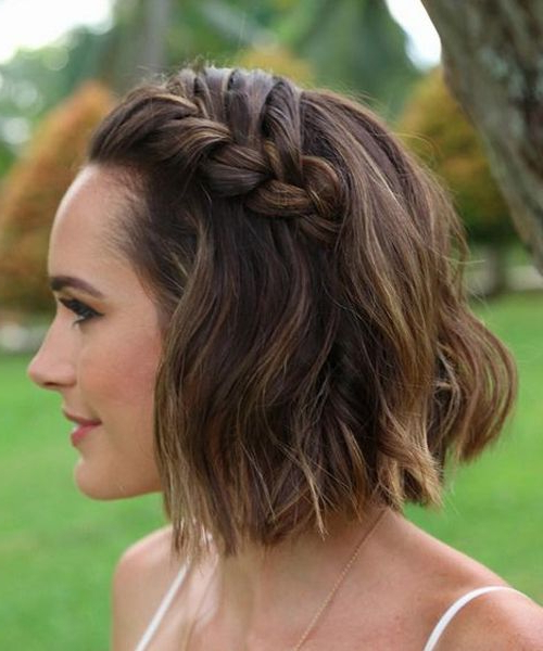 Super Gorgeous Chin Length Wedding Hairstyles 2017 | Braids On Inside Braided Bob Short Hairdo Bridal Hairstyles (View 1 of 25)