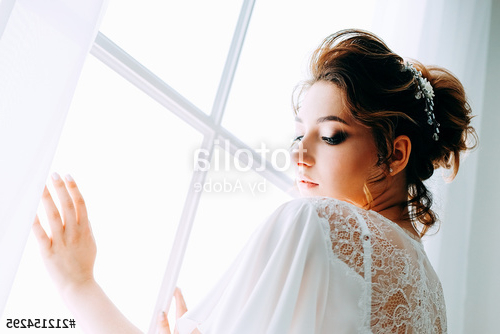 Tender Elegant Young Bride With Hairdo, Hairpin And Bridal Makeup For Tender Bridal Hairstyles With A Veil (View 15 of 25)