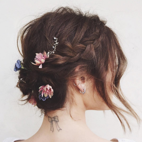 The 13 Best Updos For Short Hair – Glamour Inside Short And Flat Updo Hairstyles For Wedding (View 19 of 25)