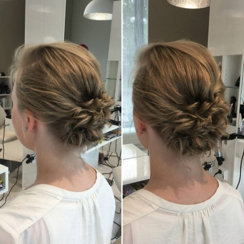 The 15 Cutest Updos For Short Hair In 2019 Throughout Low Messy Bun Wedding Hairstyles For Fine Hair (View 8 of 25)