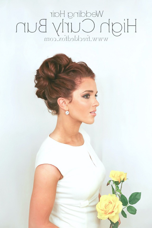 The Freckled Fox: Wedding Hair Week: High Curly Bun |Emily Meyers Inside Formal Curly Updos With Bangs For Wedding (View 14 of 25)