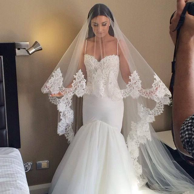 The Perfect Veil!!! Cathedral Length With Blusher With Spanish Lace Within Wedding Hairstyles With Extra Long Veil With A Train (View 4 of 25)