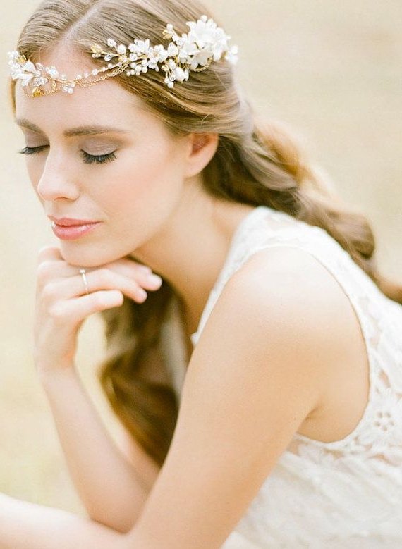 The Reign Is A Free Spirited Gold Bridal Headpiece With Unexpected With Bohemian And Free Spirited Bridal Hairstyles (View 7 of 25)