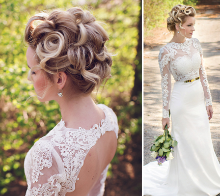 The Statement Bride: 1 Dress, 3 Styles – Behindthechair For Embellished Caramel Blonde Chignon Bridal Hairstyles (View 17 of 25)
