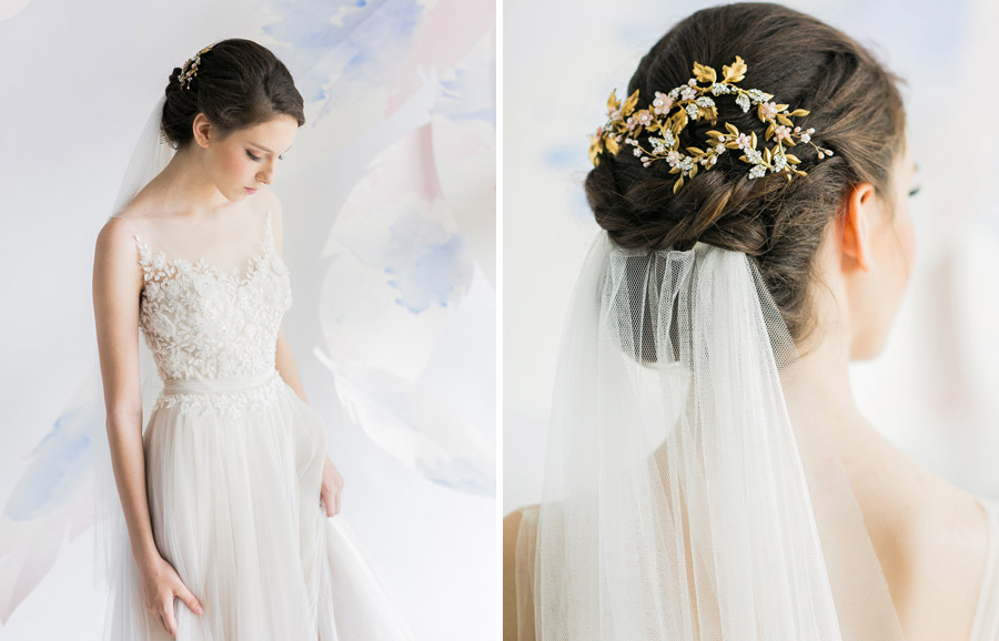 The Wedding Scoop Regarding Bridal Chignon Hairstyles With Headband And Veil (View 24 of 25)