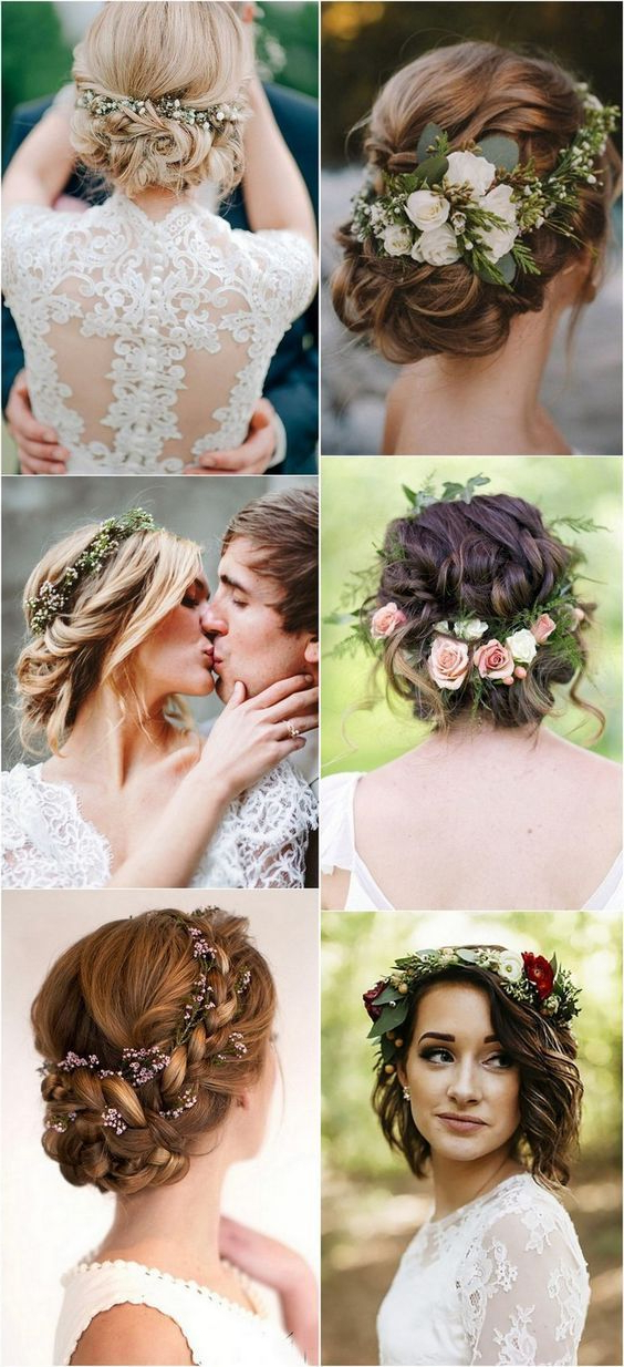 Top 10 Wedding Hairstyles With Flower Crown Veil For 2018 | Wedding With Tender Bridal Hairstyles With A Veil (View 14 of 25)