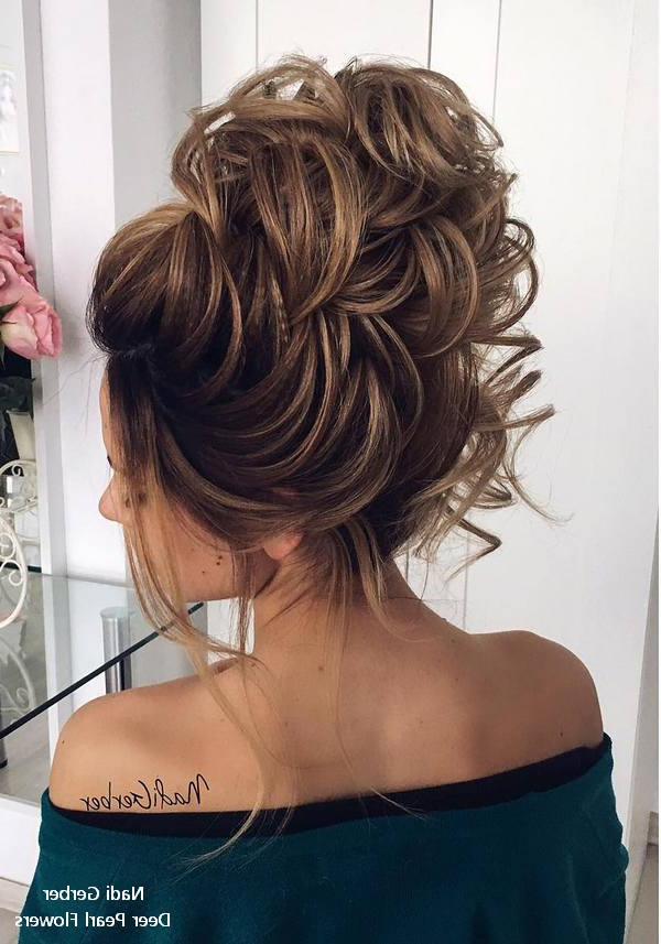 Top 18 High Bun Wedding Updo Hairstyles – My Stylish Zoo Regarding Large Bun Wedding Hairstyles With Messy Curls (View 10 of 25)