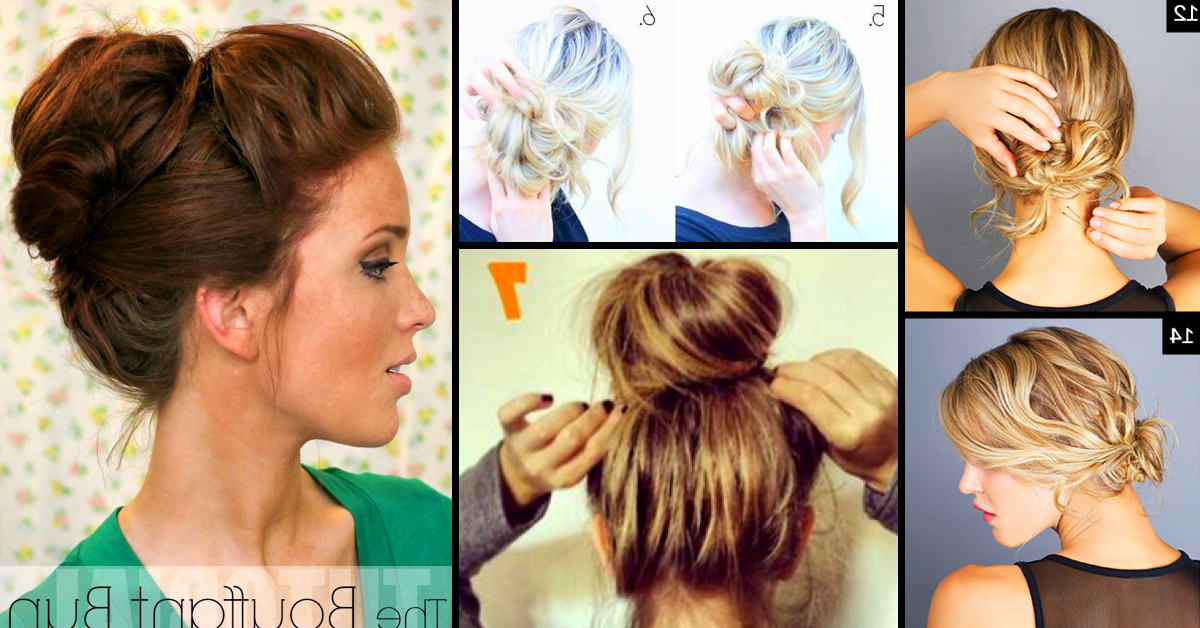 Top 25 Messy Hair Bun Tutorials Perfect For Those Lazy Mornings In Lovely Bouffant Updo Hairstyles For Long Hair (View 8 of 25)