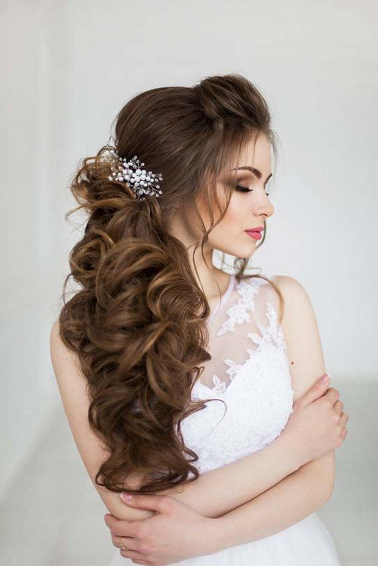 Top 30 Long Wedding Hairstyles For Bride From Art4Studio | Wedding With Regard To Semi Bouffant Bridal Hairstyles With Long Bangs (View 3 of 25)