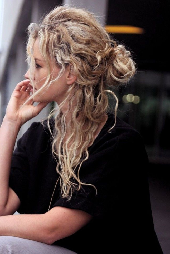 Trend Stalk: The Half Up Bun (40 Photos) 2019 | Hairstyle Guru Intended For Half Up Blonde Ombre Curls Bridal Hairstyles (View 21 of 25)