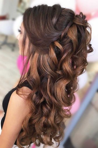 Try 42 Half Up Half Down Prom Hairstyles | Lovehairstyles Regarding Half Up Curly Hairstyles With Highlights (View 20 of 25)