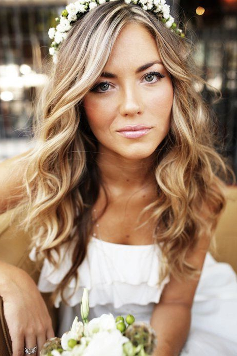 Try A Loose Curl And Flower Halo For A Bohemian Look! | Boho Chic In In Loose Curls Hairstyles For Wedding (View 6 of 25)