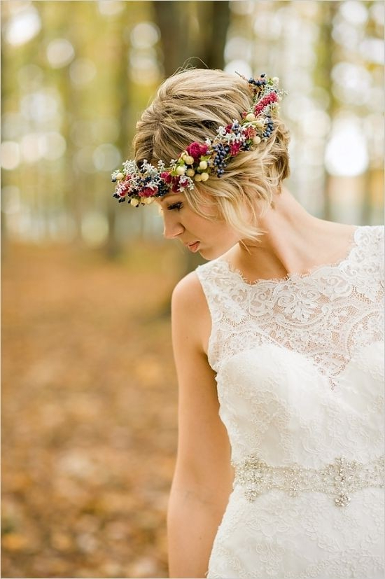 Updo Hairstyles With Floral Headband – Swanky Wedding Updos For Intended For Short Wedding Hairstyles With A Swanky Headband (View 4 of 25)