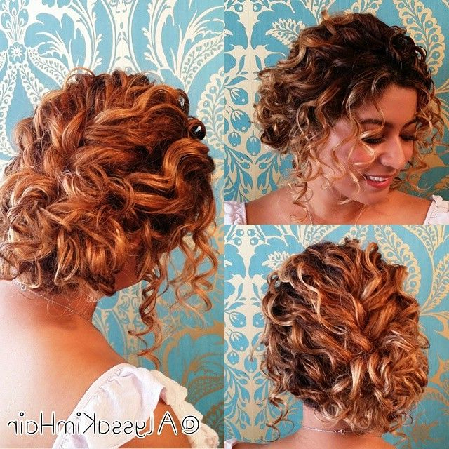 Updos For Short Curly Hair | Hair Styles | Pinterest | Curly Hair Pertaining To Formal Curly Updos With Bangs For Wedding (View 4 of 25)