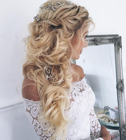 Utterly Romantic Bridal Hairstyles Regarding Teased Wedding Hairstyles With Embellishment (View 6 of 25)