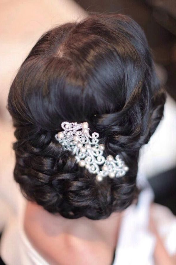 Vintage Pearl Bridal Headpieces In Black Updo Wedding Hairstyles Pertaining To Pearls Bridal Hairstyles (View 23 of 25)
