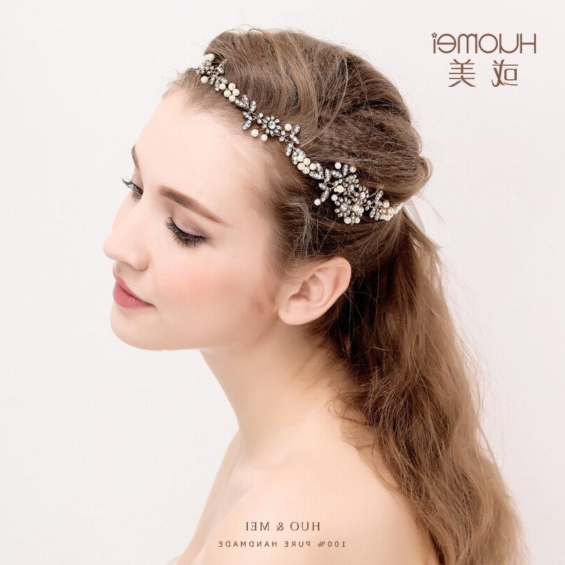 Vintage Wedding Bridal Flower Pearl Crystal Rhinestone Headband Hair Regarding High Updos With Jeweled Headband For Brides (View 20 of 25)