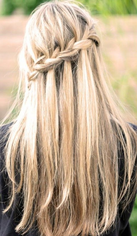 Waterfall Braid For Long Straight Hair – Back View | Hairstyles With Diagonal Waterfall Braid In Half Up Bridal Hairstyles (View 13 of 25)