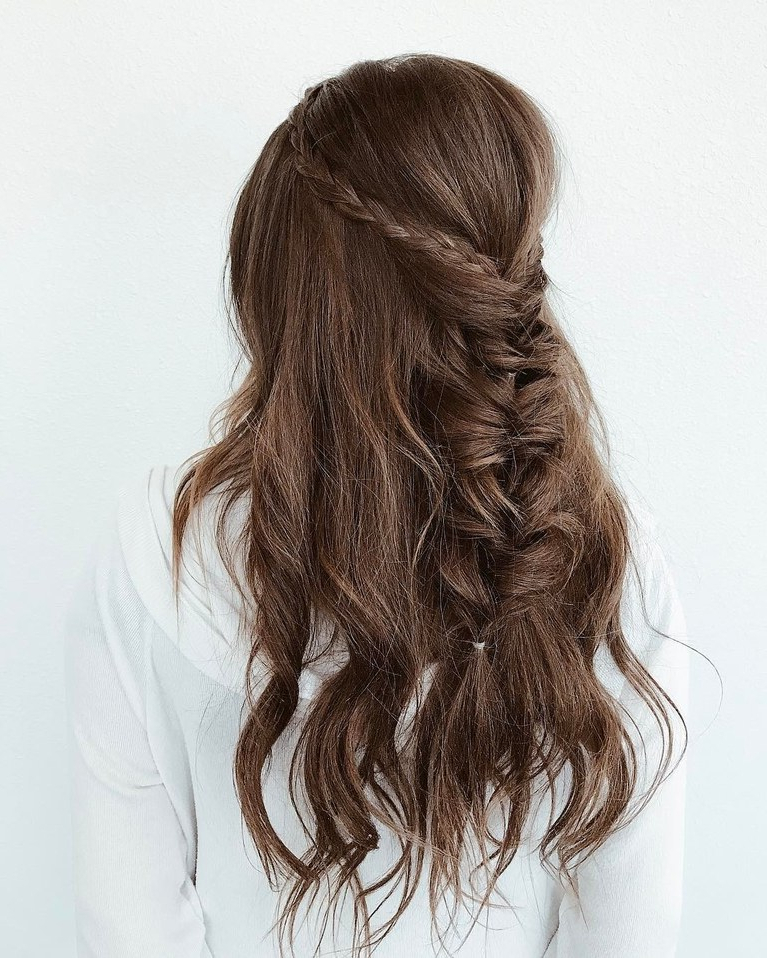 Wavy Wedding Hairstyle With Braided Crown And Fishtail Braid | Brides In Braided Wedding Hairstyles With Subtle Waves (View 5 of 25)